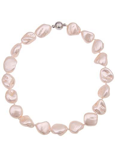 Leslii echte Perlen-kette Damen-Collier-Kette Muschel-Kette Muschelkern-Kette Perlenschmuck Halskette Länge 44cm Magnetschließe beige natur creme-weiss