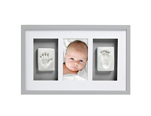 Pearhead Babyprints Newborn Baby Handprint and Footprint Deluxe Wall Photo Frame & Impression Kit - Makes A Perfect Baby Shower Gift, Gray