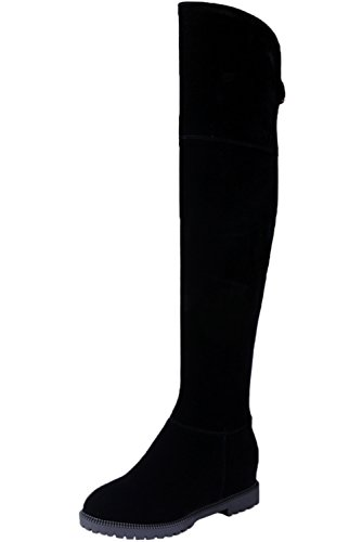 Botas equitacion Mujer Negro Ante sintética Elegantes Aumento Otoño Invierno Caliente Casual Botas Altas de Rodilla De BIGTREE