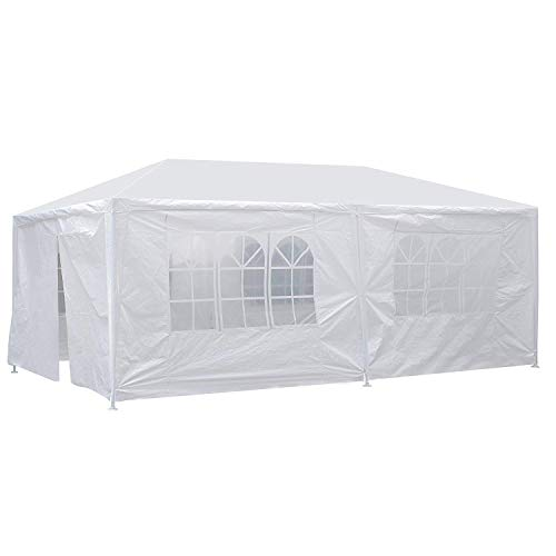 Smartxchoices 10' x 20' Outdoor White Waterproof Gazebo Canopy Tent with 6 Removable Sidewalls and Windows Heavy Duty Tent for Party Wedding Events Beach BBQ (10' x 20' with 6 Sidewalls)