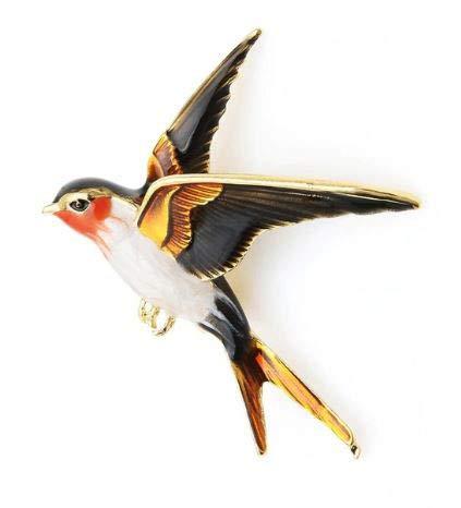 onweerstaanbaar1 Mooie kleurrijke zwaluw vogel vergulde broche pin in vlucht met rode kop