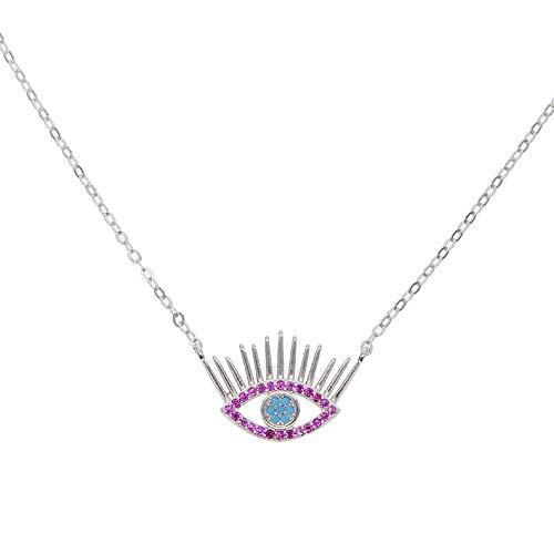 YHHZW Collar Moda Maxi Collar Collares 925 Pestaña De Plata Evil Eye Joyería Turca Collar De Color Rosa-Platinum_Plated