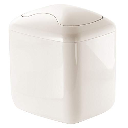 mDesign Papelera con Tapa basculante para sobremesa – Cubo de Basura de baño para desechos cosméticos – Práctico contenedor de...
