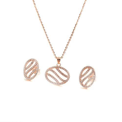 AnazoZ Juegos de Joyas Mujer,Conjunto de Joyas de Plata de Ley Mujer Oval Hueca Circonita Blanca Set A-Oro Rosa