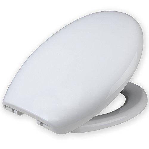 WOLTU WS2542 Sedile WC Antibatterico Copriwater per Gabinetto Coperchio Seduta Bagno Plastica Chiusura Ammortizzata Soft Close Bianco