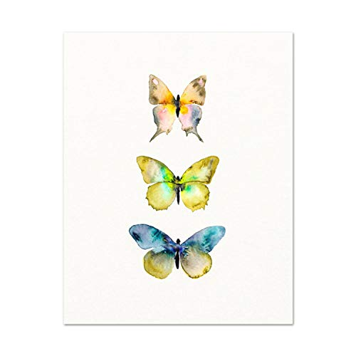 Scott397House Canvas Wall Art Prints Watercolor Butterfly Butterfly Poster Butterfly Blue and Orange Butterflies Nature Decor Nursery Ready to Hang Printing Gift for Home Decoration 16x20