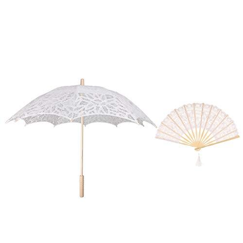 Sharplace Femme Ombrelle et Éventail Fait à la Main en Dentelle Parasol Floral Poignée en Bambou Décoratif Accessoires pour Danse Mariage - Blanc