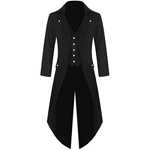 Song Chaqueta de FRAC Steampunk Vintage para Hombre, Levita Victoriana Gótica, Uniforme, Chaqueta de Disfraz, Chaqueta Larga Retro,Black-3XL