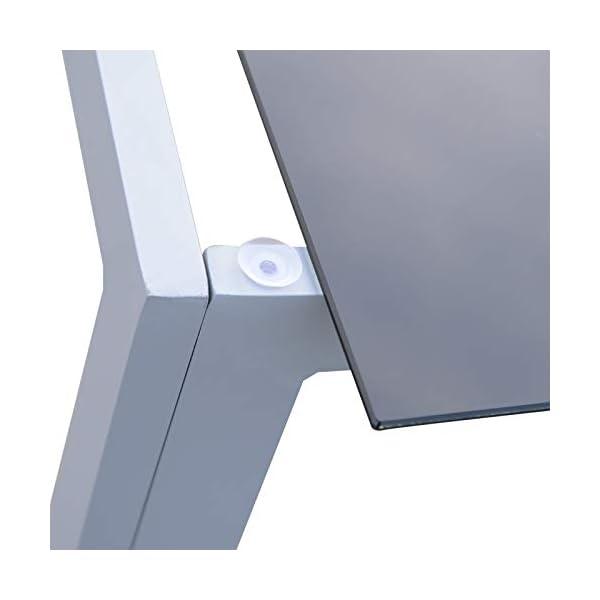 Outsunny Alu Gartentisch Balkontisch Terrassentisch Esstisch Tisch mit Glasplatte 87x87cm