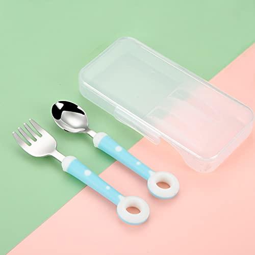 ANEWISH Juego de 2 cubiertos infantiles con caja, cuchara y tenedor de acero inoxidable de alta calidad, con caja de donuts,...