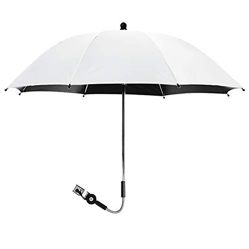 papasgix Kinderwagen Regenschirm Buggy Universal Sonnenschirm für Kinderwagen 50+ UV Sonnenschutz für Babys und Kleinkinder undurchsichtig Regenschirmgriff verstellbar(Weiß,75 cm)