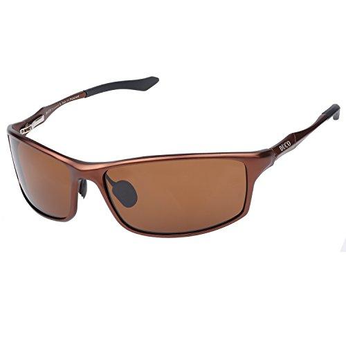 DUCO Herren Sportbrille Polarisierte Sonnenbrille Fahrerbrille 8201 (Braun)