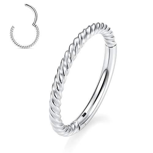 Nose Rings 18 Gauge Nose Ring Hoop Earrings For Women 18g Nose Hoop 10mm Septum Jewelry Surgical Steel Septum Ring Septum Clicker Lip Rings Silver Helix Earring Rook Earring Conch Cartilage Earring
