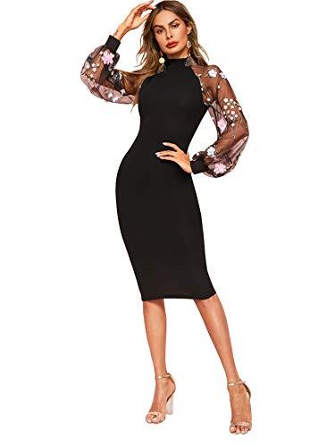 SOLY HUX Damen Kleid Netz Figurbetont Schlauch Kleider Stehkragen mit Schlitz Party Kleider #6 S