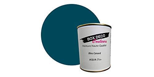 Peinture acrylique aspect satin Aqua déco - Murale - 44 couleurs - 750 ml - 7.5 m² (Bleu Canard)