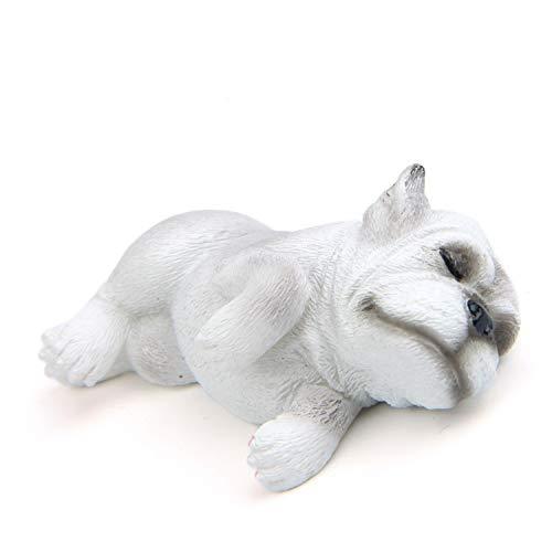 Xinyuanweiye Car Ornaments Resin UK Bulldog Figure Decoration Doll Cute Sleeping Dog Automotive Internal Dashboard Decor Accessories Gifts Cactusus (Color Name : Recumbent White)