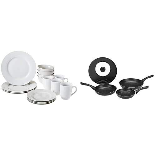 Amazon Basics - Vajilla para 4 personas (16 piezas) + Juego de 3 sartenes de inducción