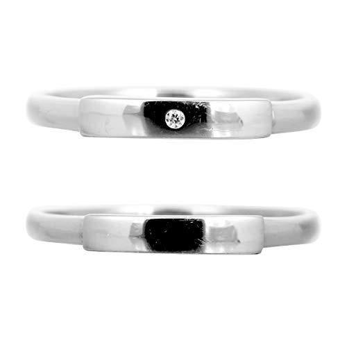 [ココカル]cococaru 結婚指輪 ペアリング シルバー 2本セット ダイヤモンド 日本製(レディースサイズ5号 メンズサイズ18号)