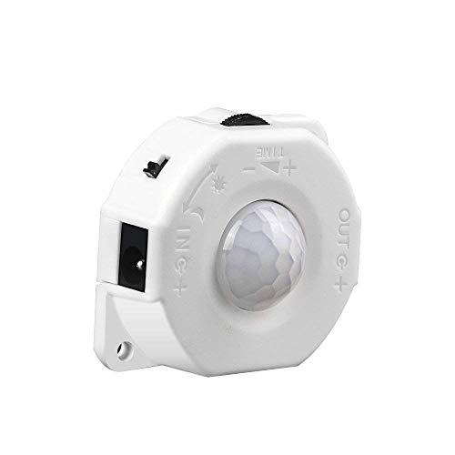 Scientify Interruptor de Sensor Activado por Movimiento PIR, DC 5V-24V 8A Sensor de luz día/Noche Cable de CC Luz de Tira LED, Luces de Cuerda RGB, Luces de Armario Luces de Escalera Accesorios