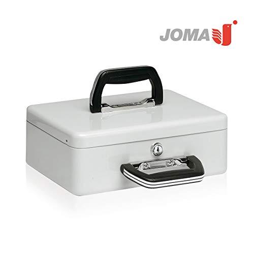 Caja de caudales con portamonedas interior y 2 asa - Incluye 2 llaves - Fuerte y Portátil para contar dinero (euros) - 29 × 11,5 × 21,5 cm - Color: Gris/Negro