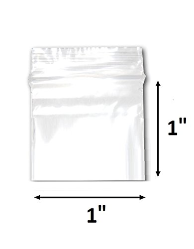 "200 Bags of 1"" x 1"" 2 Mil Clear Plastic Reclosable Zip Poly Bags with Resealable Lock Seal Zipper by 888 Display USA"