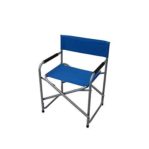 MilaniHome Poltrona Pieghevole Sedia Regista in Metallo E Oxford Blu per Campeggio Spiaggia Mare Piscina Giardino Esterno
