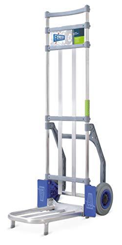 Vollmontierte EXPRESSO Alu Profi- Paketkarre zum Transport von Kartons / 120kg -150kg / pannensichere Flachprofil-Räder/Klappbare Rohrschaufel: L 42,5 x B 28 cm / AE82327142G
