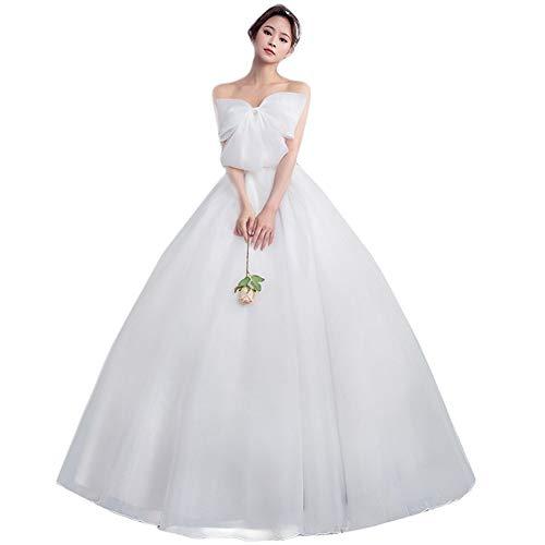 LWLEI Tube Top Wedding Dress Bride High Waist Pregnant Women Bow Dress Pretty Gown (Color : White, Size : XXS)