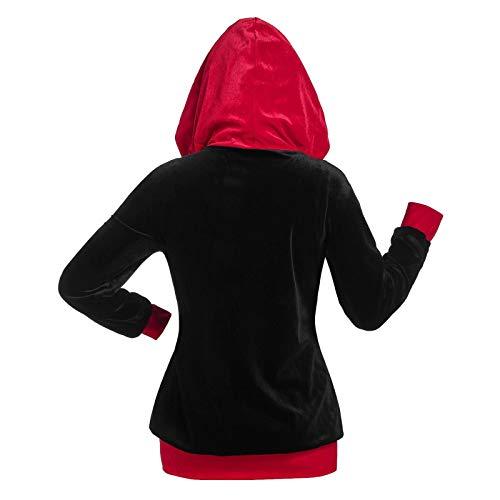 Felpa con cappuccio unisex, a maniche lunghe, da donna, con orecchie di gatto, in pelle sintetica, con cerniera e inserto in pelle sintetica rosso XXL