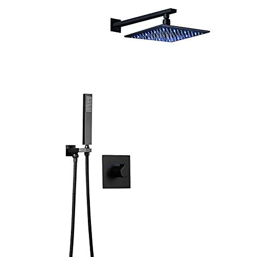 longp Sistema de Ducha Oculto Negro baños LED Kit de Ducha de Techo Moderno Juego de Ducha Mezclador de baño Fijo Cabezal de Ducha de 10 Pulgadas