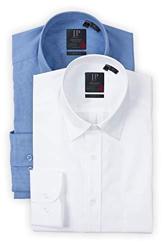 JP 1880 Herren große Größen bis 7XL, Businesshemden, Shirts, 2er-Pack, Comfort Fit, blau, weiß L 702862 71-L
