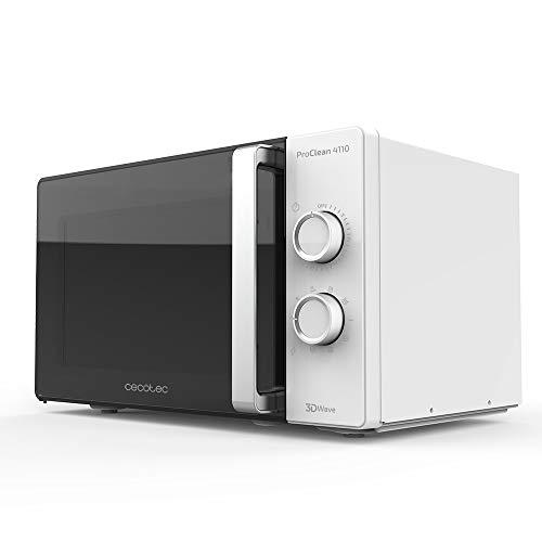 Cecotec Microondas con grill ProClean 4110. Capacidad 23 litros, Potencia 700 W, Tecnología 3D Wave, Puerta Full Crystal