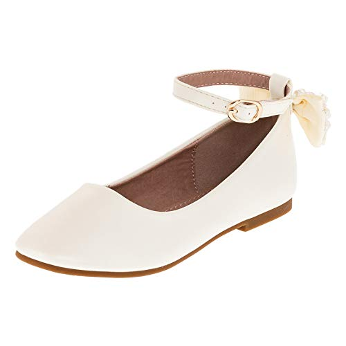 Dorémi Festliche Kinder Mädchen Ballerinas Schuhe mit Zierblume M420cr Creme 28