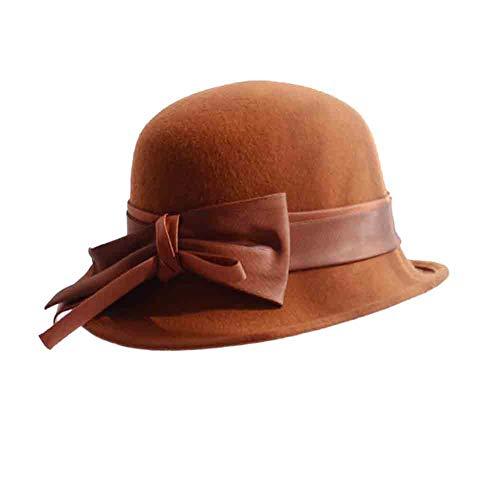 SUN Sombrero Cloche De Mujer Sombrero De Fieltro Sombreros Sombrero Bowler con Arco Acento Pescador Sombrero Moda Británica Casual (Color : Caramel)