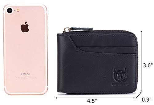 BULLCAPTAIN Zipper Men Wallet Leather Bifold Antimagnetic RFID Blocking Wallets Card Holder 3