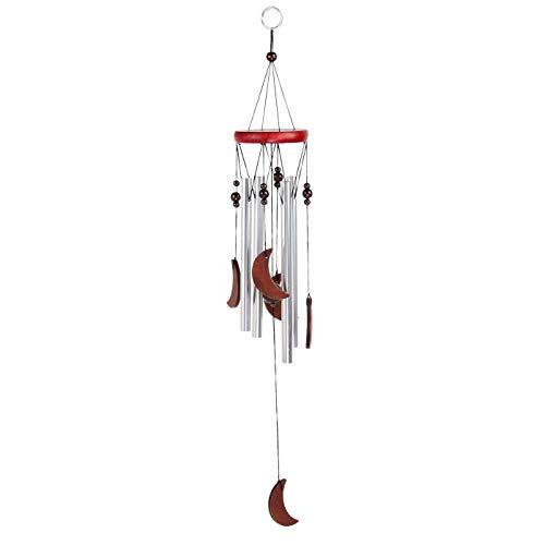 Windspiel für Draußen - Glockenspiel für Garten und Balkon - Holz Klangspiel sorgt für tollen Klang und beruhigende und entspannte Atmosphäre - auch als Vogelschreck (Design 1 - Mond)