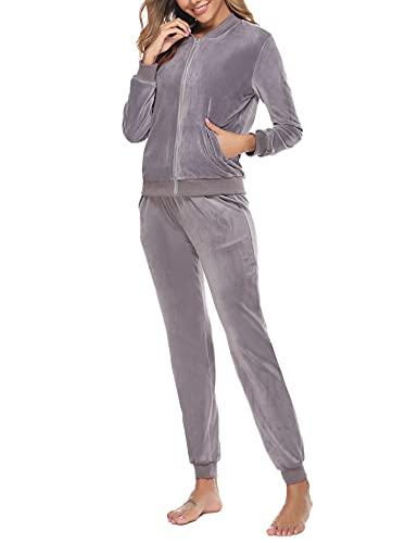 Akalnny Tuta Donna Sportiva Abbigliamento Felpa Tops E Pantaloni Jogging Manica Lunga Pullover Tuta Ginnastica per l'autunno Primaverile Invernale(Grigio, S)