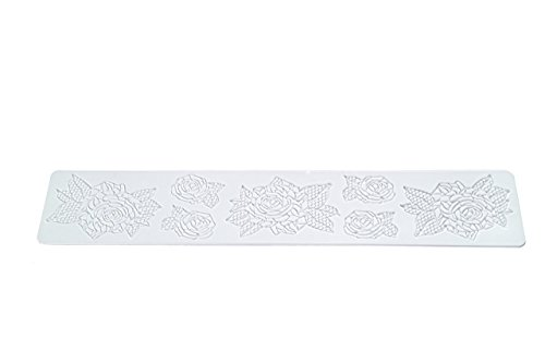 Wonder Cakes by Silikomart 23.094.87.0196 Trd 14 Tapis pour Dentelles Sucre motif S Silicone Blanc 0,5 x 9,5 x 42 cm