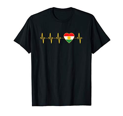 Kurdische Heartbeat I Love Kurdistan Heartbeat Flagge T-Shirt