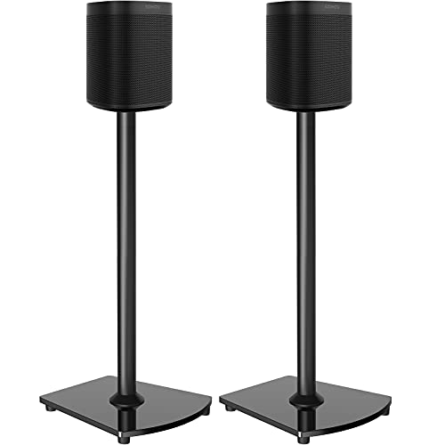 Wireless Speaker Stands Designed for Sonos Speakers Pair of Sonos Stands for Sonos One, One SL, Play:1 Play:3 Play:5 Heavy Duty Floor Speaker Mount with Cable Management Black