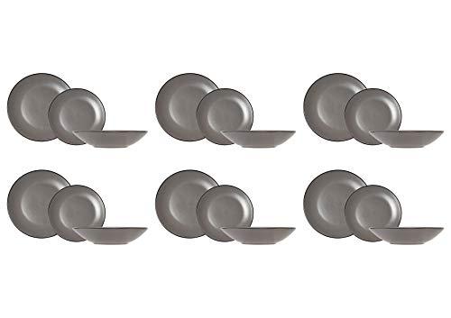 COSY & TRENDY 1904262 Speckle Grey - Vajilla (18 piezas), color gris