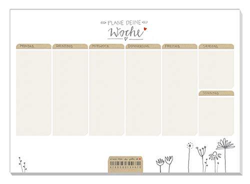 A5 Wochenplaner für Aufgaben & To-dos - Plane deine Woche - Wochenplan, Weiß Beige mit Blumen, Abreißblock für Termine und Erledigungen, 50 Blatt, Recyclingpapier, klimaneutral produziert