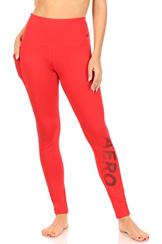 Aeropostale Women's High Rise Performance Legging with Mesh Pockets, Formula One, Small