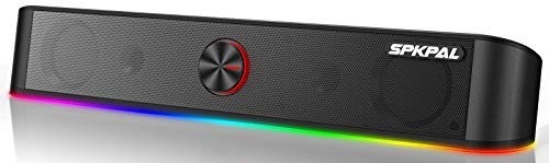 Altoparlanti per PC Soundbar,Altoparlanti da gioco per Computer Bluetooth 5.0 10 W, Soundbar RGB cablato USB con Audio stereo surround,Aux da 3,5mm connessione Tablet per Cellulare Monitor per Laptop