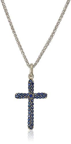 Effy Womens 925 Sterling Silver Diamond, Sapphire Pendant Necklace, Blue, 18