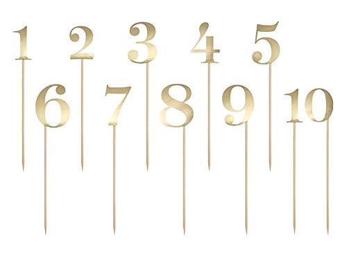 DaLoKu Cake Topper Kuchendekoration Tortenfigur Hochzeit Geburtstag Silvester Tisch Zahl Gold , Größe: Zahlen 1-10 Gold