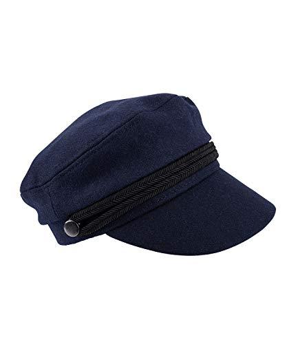 YSTRDY Damen Kopfbedeckung, Hut, Kapitänsmütze, Marine, Filzoptik, geflochtene Bänder, Knöpfe, blau, schwarz, silber (490-743)