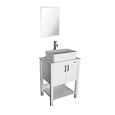 "eclife 24"" Bathroom Vanity Sink Combo White Cabinet Vanity White Ceramic Vessel Sink & 1.5 GPM Water Save Chrome Bathroom Solid Brass Faucet and Pop Up Drain, W/Mirror (T03B12W)"