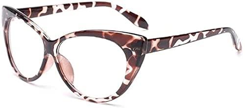 KANGNING Gafas de Lectura, monturas de Ojo de Gato, anteojos Vintage, Gafas Transparentes para Ordenador, Gafas de Moda para Mujer, Gafas con Lentes Transparentes-Leopardo Well