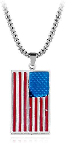 huangshuhua Collares con la Bandera de Estados Unidos Patriota de Estados Unidos Estrellas de la Libertad Colgante con Etiqueta de Perro del ejército Accesorios Me Patriot